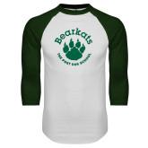 White/Dark Green Raglan Baseball T Shirt-Paw Logo