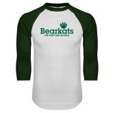 White/Dark Green Raglan Baseball T Shirt-Bearkats