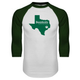 White/Dark Green Raglan Baseball T Shirt-Bearkats Texas