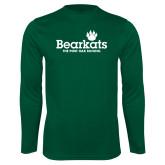 Performance Dark Green Longsleeve Shirt-Bearkats