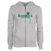 ENZA Ladies Grey Fleece Full Zip Hoodie-Bearkats