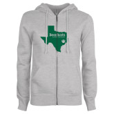 ENZA Ladies Grey Fleece Full Zip Hoodie-Bearkats Texas