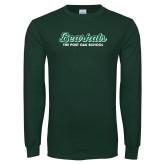 Dark Green Long Sleeve T Shirt-Bearkats Script