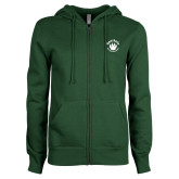 ENZA Ladies Dark Green Fleece Full Zip Hoodie-Paw Logo
