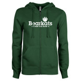 ENZA Ladies Dark Green Fleece Full Zip Hoodie-Bearkats