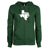 ENZA Ladies Dark Green Fleece Full Zip Hoodie-Bearkats Texas