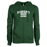 ENZA Ladies Dark Green Fleece Full Zip Hoodie-Bearkats Alumni