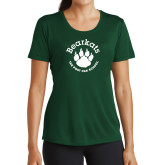 Ladies Performance Dark Green Tee-Paw Logo