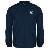 V Neck Navy Raglan Windshirt-Paw Logo
