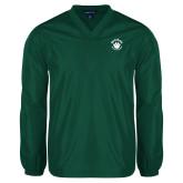 V Neck Dark Green Raglan Windshirt-Paw Logo