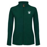 Ladies Fleece Full Zip Dark Green Jacket-Paw Logo