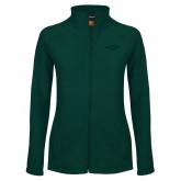 Ladies Fleece Full Zip Dark Green Jacket-Primary Mark