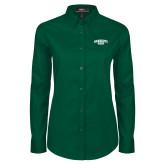 Ladies Dark Green Twill Button Down Long Sleeve-Primary Mark