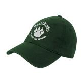 Dark Green Twill Unstructured Low Profile Hat-Paw Logo