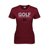 Ladies Maroon T Shirt-Golf Design