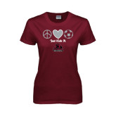 Ladies Maroon T Shirt-Just Kick It Soccer Design