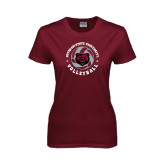 Ladies Maroon T Shirt-Volleyball Circle Design