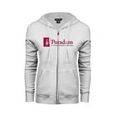 ENZA Ladies White Fleece Full Zip Hoodie-Potsdam University Mark - Flat
