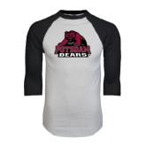 White/Black Raglan Baseball T-Shirt-Potsdam Bears - Official Logo