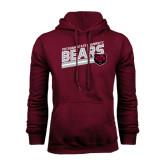 Maroon Fleece Hoodie-Slanted Potsdam State University Bears w/ Bear Head