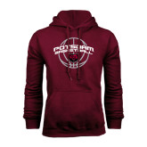 Maroon Fleece Hoodie-Basketball in Ball Design