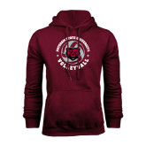 Maroon Fleece Hoodie-Volleyball Circle Design