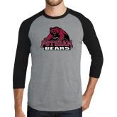 Grey/Black Tri Blend Baseball Raglan-Potsdam Bears - Official Logo