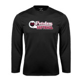 Performance Black Longsleeve Shirt-Softball Script Design