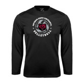 Performance Black Longsleeve Shirt-Volleyball Circle Design