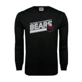Black Long Sleeve TShirt-Slanted Potsdam State University Bears w/ Bear Head
