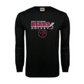 Black Long Sleeve TShirt-Hockey Stick Design