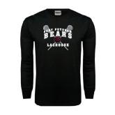 Black Long Sleeve TShirt-Lacrosse Crossed Sticks Design