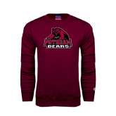 Maroon Fleece Crew-Potsdam Bears - Official Logo