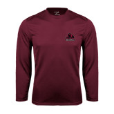 Performance Maroon Longsleeve Shirt-Potsdam Bears - Official Logo