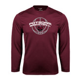 Performance Maroon Longsleeve Shirt-Basketball in Ball Design