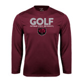Performance Maroon Longsleeve Shirt-Golf Design