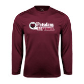 Performance Maroon Longsleeve Shirt-Softball Script Design
