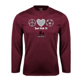Performance Maroon Longsleeve Shirt-Just Kick It Soccer Design