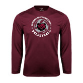 Performance Maroon Longsleeve Shirt-Volleyball Circle Design