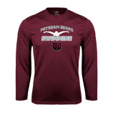 Performance Maroon Longsleeve Shirt-Swimming Design