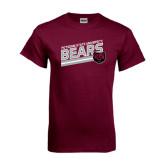 Maroon T Shirt-Slanted Potsdam State University Bears w/ Bear Head