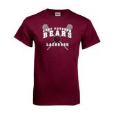 Maroon T Shirt-Lacrosse Crossed Sticks Design