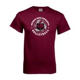 Maroon T Shirt-Volleyball Circle Design