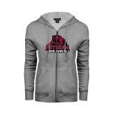 ENZA Ladies Grey Fleece Full Zip Hoodie-Potsdam Bears - Official Logo