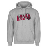 Grey Fleece Hoodie-Slanted Potsdam State University Bears w/ Bear Head
