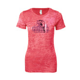 Next Level Ladies Junior Fit Fuchsia Burnout Tee-Potsdam Bears - Official Logo Foil