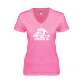 Next Level Ladies Junior Fit Ideal V Pink Tee-Potsdam Bears - Official Logo