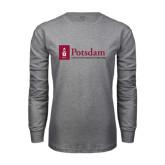Grey Long Sleeve T Shirt-Potsdam University Mark - Flat
