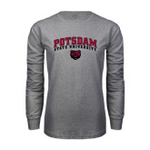 Grey Long Sleeve T Shirt-Arched Potsdam State University Bears w/ Bear Head
