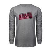 Grey Long Sleeve T Shirt-Slanted Potsdam State University Bears w/ Bear Head